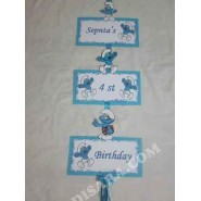 Smurfs party Age number banner
