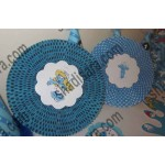 smurfs theme paper flower for birthday party